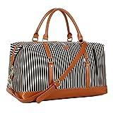 BAOSHA HB-14 Borsa da Viaggio per Donna in Tela Borsone Borsoni da Viaggio Tote da Viaggio per Fine Settimana e Durante la Notte Bagaglio a Mano Weekend Bag (Strisce Nere)