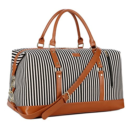 BAOSHA HB-14 Übergroße Canvas Reisetasche Frauen Damen Travel Duffel Bag Carry On Bags Segeltuch Handgepäck Weekender Tasche für Kurze Reise am Wochenend Urlaub mit Gestreift (Schwarz Streifen) -