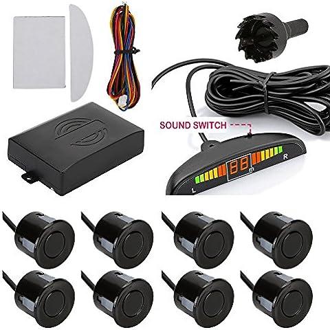 TKOOFN Universal KFZ Radar Aparcamiento Sensor Alarma Acustica Indicador LUZ Kit LED Marcha Atras Volumen Ajustable (8 Unidades,