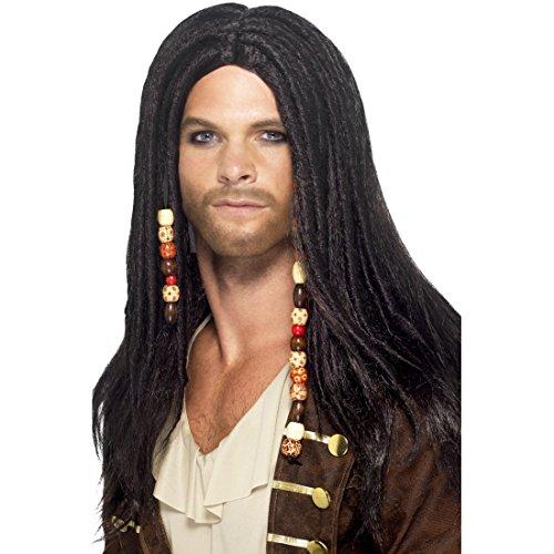 Piraten Perücke Dreadlocks Langhaarperücke mit Dreads und Perlen Pirat Faschingsperücke Piratenperücke Karnevalskostüme Zubehör Freibeuter Karnevalsperücke Seeräuber Jack Sparrow ()