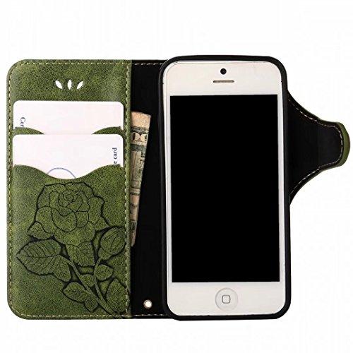 Custodie Apple IPhone 5s / IPhone SE Cover, Yiizy Roses Design Custodia Portafoglio Silicone Gomma Flip Cover Case PU Pelle Cuoio Copertura Case Slot Schede Cavalletto Stile Libro Bumper Protettivo Bo Verde