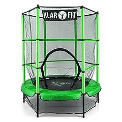 Idea Regalo - Klarfit Rocketkid • Trampolino • Trampolino da Giardino • Trampolino da Giardino • Ø 140 cm • Rete di Sicurezza Chiudibile • Portata Max. 50 Kg • Aste Imbottite • Colore Verde