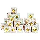 Papierdrachen DIY Adventskalender Kisten Set - Motiv Einhörner in rosa - 24 Bunte Schachteln aus Karton zum Aufstellen und zum Befüllen - 24 Boxen - Weihnachten 2018