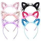 Mwoot Fasce per parrucchieri da ragazza, 6 pezzi orecchie di gatto Fascia per capelli Fascia per capelli scintillante Accessori per capelli per feste di compleanno per ragazze