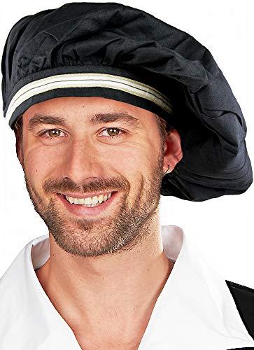 Kostüm Erwachsene Bauer Für Mittelalterliche - Barett Hut zum Mittelalter Kostüm - Schwarzer Hut für Damen und Herren