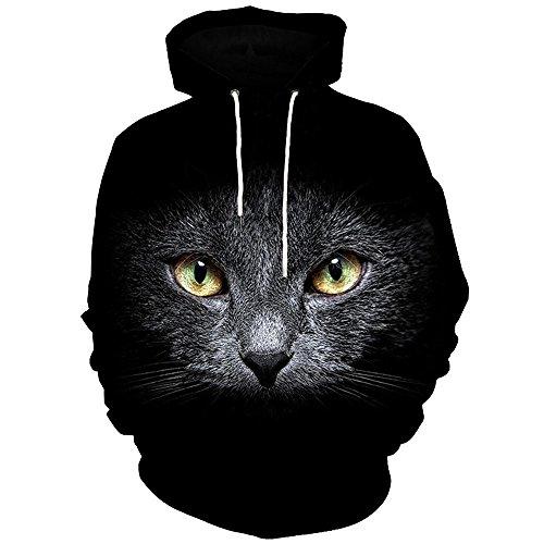 Baumwolle / Cashmere-kapuzen-pullover (Herren Pullover mit Kapuze Sweatshirt 3D gedruckten Tops lässige Bluse EUZeo (M, Schwarz-Katze))