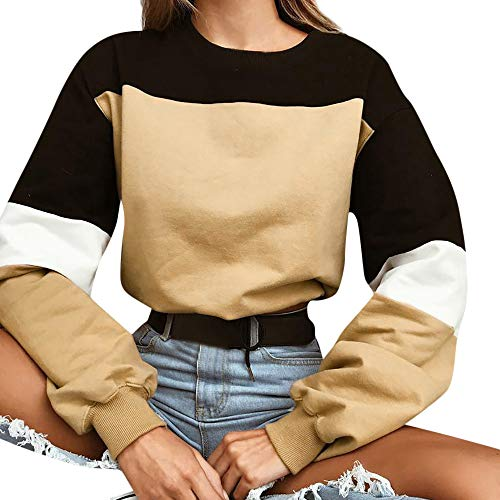 Felpe tumblr ragazza, feixiang felpa donna eleganti manica lunga da donna felpa con cappuccio e pullover, abbinamento di colore, sweatshirt camicia maglia donna tops camicetta maglietta