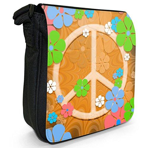 Hippie Flower Power Peace-Zeichen Kleine Schultertasche aus schwarzem Canvas Flower Power Peace-Zeichen Orange