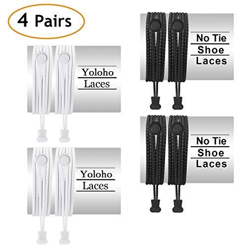 Yoloho Keine Krawatte Schnürsenkel - Packung mit 4, elastischen Schnürsenkeln für Kinder und Erwachsene, Die meisten Schuhe passen (Black & White)