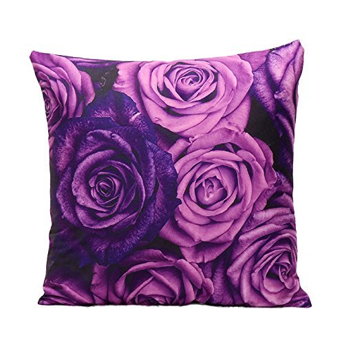 SODIAL(R) 1 Pcs 45x45cm 3D Violet Pringting Cushion Cover Bedroom Throw Pillow Case Home Sofa Decoration purple