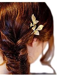 Retro Horquilla Pelo Tocado, 2PC Worsendy Tocado Clip borde del bosque recortado horquilla de oro de hoja de moda boda accesorios de pelo partido para las mujeres y las ninas