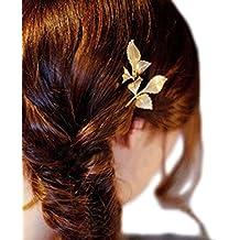 Cdet Tocado Clip borde del bosque recortado horquilla de oro de hoja de moda boda accesorios de pelo partido para las mujeres y las ninas