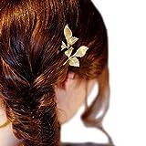 Daorier 1 Pcs Simple Elégant Barrette Pince à Art Cheveux Bandeau Motif de Feuille Dorée en Alliage Pour Femme (A)
