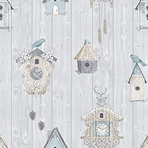 Bird Boxes Stag Birdhouses Sky Blue Wood Panel Wallpaper by Rasch 229004