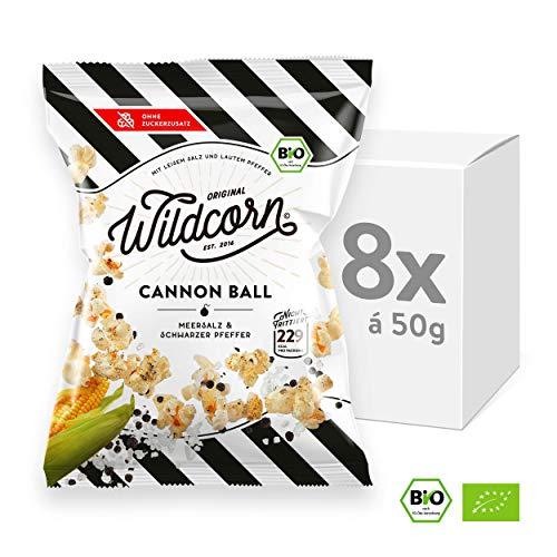 Wildcorn Popcorn Cannon Ball: Meersalz & Pfeffer, Kalorienarmer Bio Snack dank Trockenröstung, Vegan und Ohne Zuckerzusatz, 8x 50 g (Alle Mais-chips Natürlichen)