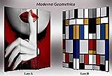 Separè bifacciale artistico Divisorio 3 ante su tela Moderno Geometrico 176x3.2x135.6 cm