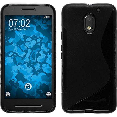 PhoneNatic Case kompatibel mit Lenovo Moto E3 - schwarz Silikon Hülle S-Style + 2 Schutzfolien