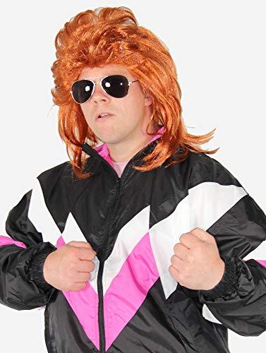 Foxxeo Prollperücke Vokuhilaperücke Proll Perücke Pimp Vokuhila 80er Jahre orange (Rot Pimp Halloween Kostüm)