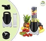 Leogreen - Frullatore, Miscelatore Di Frutta E Verdura, Nero, con borraccia da 600 ml, Materiale della tazza: Senza BPA