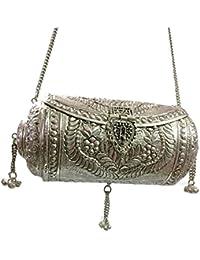 White Metal Brass Clutch Vintage Clutch Handmade Bag Metal Purse Round Wallet Hanging Silver Ball Bag