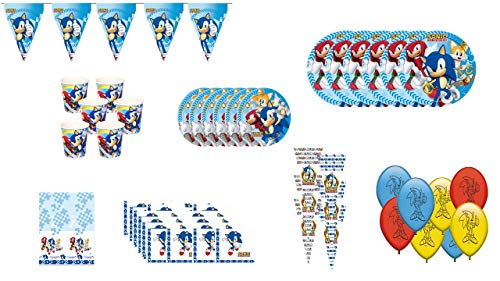 ALMACENESADAN 1045, Pack-Partykomplement und Geburtstag Sonic, 6 Gäste (54 Teile)