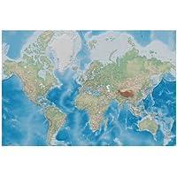 Fotomurales Mappamondo – Decorazioni pareti Proiezione di Miller con design plastico in rilievo Terra Atlante Globo Mappa GeografiaI Fotomurales by GREAT ART (210 cm x 140 cm)