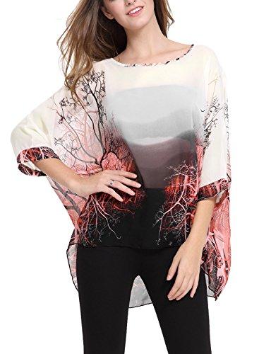 DJT - Maglia Manica 3/4 Bohemian Chiffon Blouse T Shirt Stile Beige#1