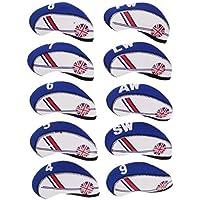 B Baosity 10pcs Golf Headcovers Cubiertas de Cabeza de Hierro Protegen a Union Jack - Beige + Azul Royal