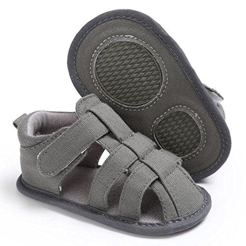 OverDose Unisex-Baby weiche warme Sohle Leder / Baumwolle Schuhe Infant Jungen-Mädchen-Kleinkind Schuhe 0-6 Monate 6-12 Monate 12-18 Monate D-Leinwand-Grau