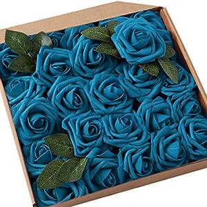 JaosWish 25 rosas artificiales de tacto real, flores artificiales, rosas de espuma para decoración del hogar