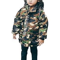 Niños Camuflaje Abajo Abrigo Con Capucha Chicos Niñas Invierno Pluma Chaqueta Largo Capa Outerwear Verde 90