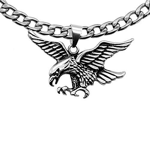 tumundo 1x Panzerkette Halskette + 1x Anhänger Edelstahl Königskette Herren-Kette Eisernes Kreuz Thorhammer Totenkopf, Farbe:Modell 5-55cm