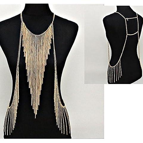 S&E Ropa de mujeres arnés del oro de las borlas de la cadena del vientre del cuerpo joyería de la cintura Bikini Beach Slave