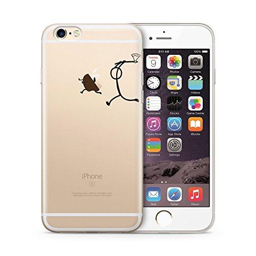 Cujas® | Transparent Premium Silikon TPU Schutzhülle Motiv Case Schutz Weich (iPhone SE / 5S / 5 Bunter Regen) Axt