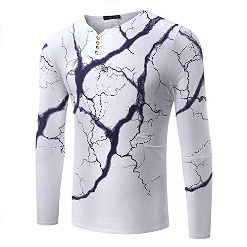 Honghu Herren Longsleeve Casual Urban Basic T-shirts Weiß