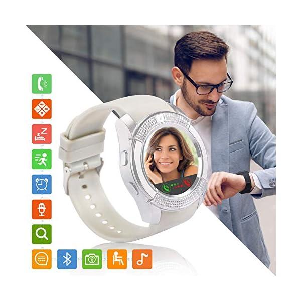 Tipmant Reloj Inteligente Mujer Hombre SN08 Smartwatch Pantalla táctil con Ranura para Tarjeta SIM Cámara Podómetro Pulsera de Actividad para Smartwatch para Xiaomi Samsung Huawei Android (Blanco) 1