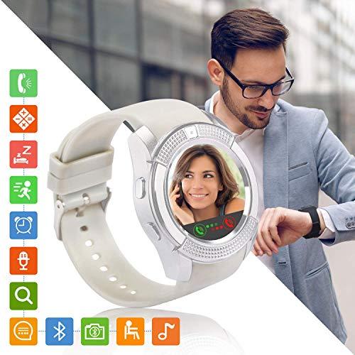 Tipmant Reloj Inteligente Mujer Hombre SN08 Smartwatch Pantalla táctil con Ranura para Tarjeta SIM Cámara Podómetro Pulsera de Actividad para Smartwatch para Xiaomi Samsung Huawei Android (Blanco)