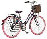 breluxx 28 Zoll Damenfahrrad Venera Fashion Geisha Citybike Korb + Licht Retro Damenrad, 6 Gang Shimano