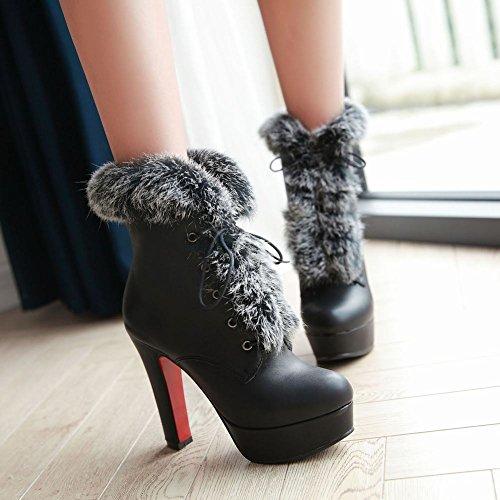 Mee Shoes Damen Pompon Trichterabsatz Plateau runde Stiefel Schwarz