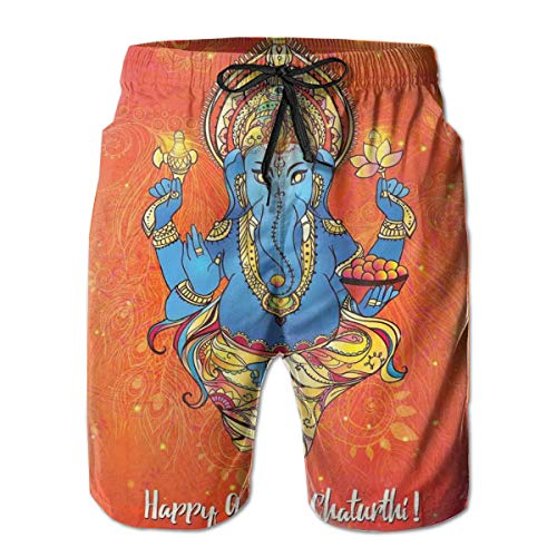 Men Swim Trunks Beach Shorts,Traditional Asian Elephant Figure of Spiritual Importance On A Warm Toned Backdrop,Quick Dry 3D Printed Drawstring Casual Summer Surfing Board Shorts M