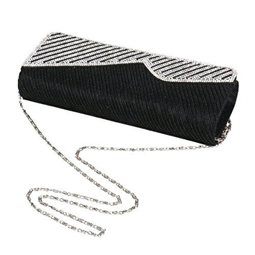 Damara® Elegant Damen Glänzen Pailletten Falten Strassstein Abendtaschen In Einfarbig Graugrün