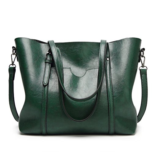 Auspicious beginning Signore maniglia superiore di cuoio puro di colore della borsa della spalla Cross-body Borsa verde