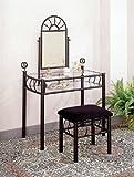 Noir en fer forgé Vanity Set de table Miroir de maquillage...