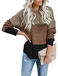 FIYOTE Damen Strickpullover Farbblock Pullover Casual Winter Sweater Sweatshirt Winter Bluse Streifenpullover 4 Farbe S/M/L/XL/XXL