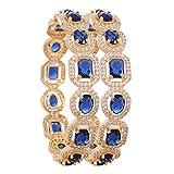 Ratnavali Joyas cz Circonita Oro Tono Azul Diamante Elegante...