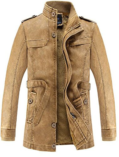 Vogstyle Herrn Winterjacke Kunstleder Lederjacke Pelz Fleece Mantel Jacken Art 1 Gelb