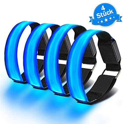 Imagen de outerdo pulseras reflectantes led de 4 piezas, pulseras luminosas a prueba de agua, pulseras reflectantes led de 4 piezas ligeras para actividades al aire libre, correr de noche, senderismo
