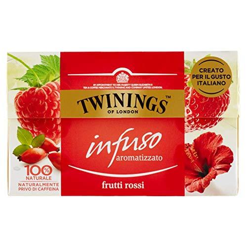 twinings infusi - frutti rossi - infuso 100% naturale dal colore rubino e dal profumo inebriante di fragola, lampone, ibisco rosso e bacche di rosa canina - gusto italiano e dissetante (40 bustine)