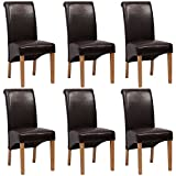 6 x Lavin Lifestyle Leather Brown Dining Chair