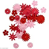 Rayher Hobby 7895518  Papier-Blütenmischung, 1,5-2,5 cm, 4 Sorten, SB-Tube 36  Stück, rot / rosétöne